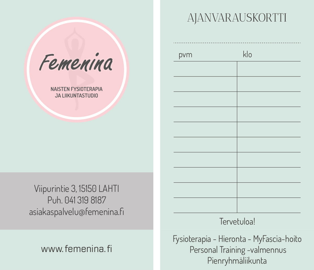 femenina-ajanvarausikortti
