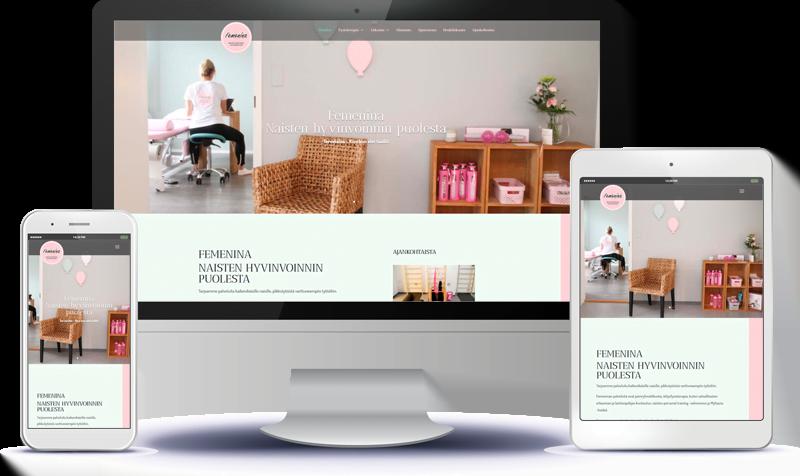 Logon ja verkkosivuston suunnittelu – Femenina.fi