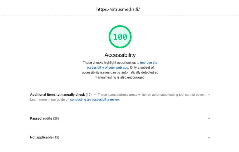 Googlen saavutettavuustesti 100/100
